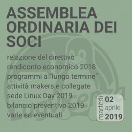 02 Aprile 2019 – ASSEMBLEA ORDINARIA DEI SOCI
